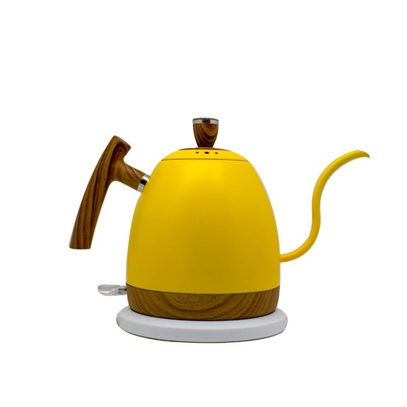 1000ml Electric Variable Yellow Color Stainless Steel Gooseneck Pour Over Coffee Kettle with 360 Degree Rotational Base