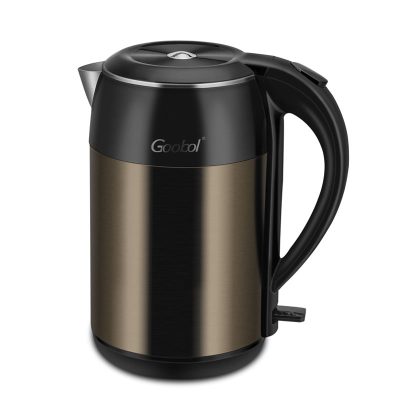 Double layer SS304 electric kettle tea pot two round pins plug power cord dry kettle 220-240v water cooker