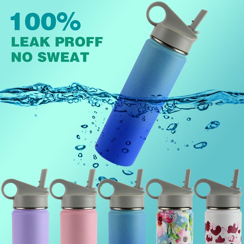 Powder Coated Eco-Friendly Double Wall stainless steel drinking water bottle with straw