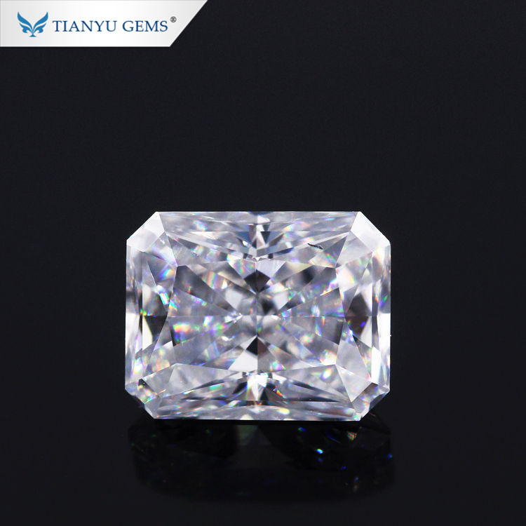 Tianyu gems super white moissanite diamond 8x10mm ice radiant cut synthesis moissanite loose stone