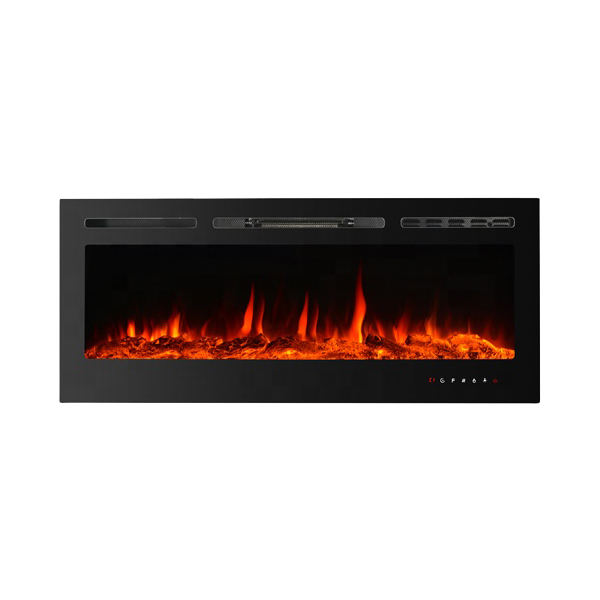 "40"" Full recessed/Wall mounted electric fireplace 9-colour log/crystal/pebble,touch panel"