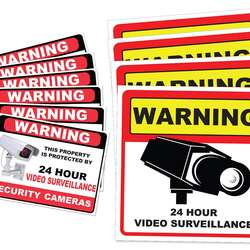 Video Surveillance Camera Sticker Sign Adhesive Under 24 Hours Security Warning Signs warning security cameras in use signs