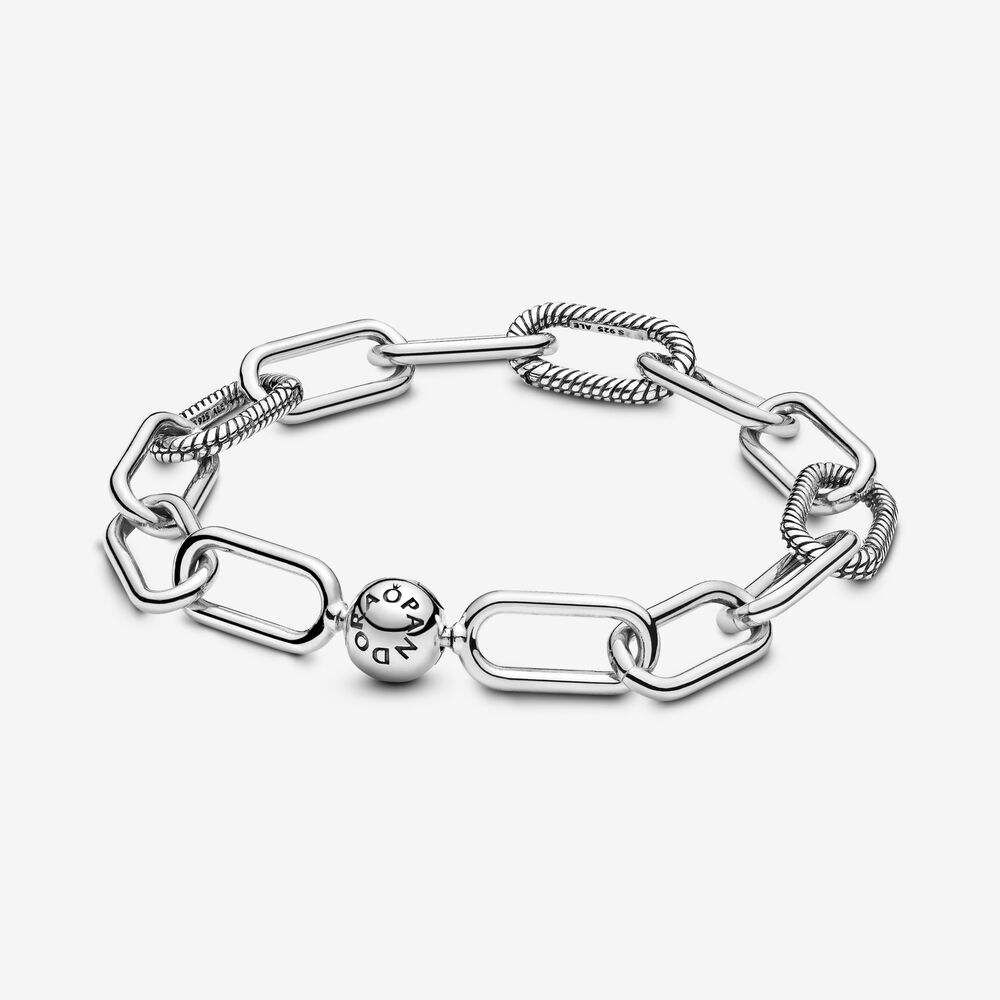 925 Sterling Silver Chunky Me Link Bracelet With Classic Logo Ball Clasp Snake Chain Fit Pan Dangle Charm For Women