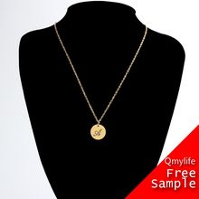 Qmylife Shiny Stainless Steel 18K Gold Plated Letter S Disc Necklace With Initial Necklace