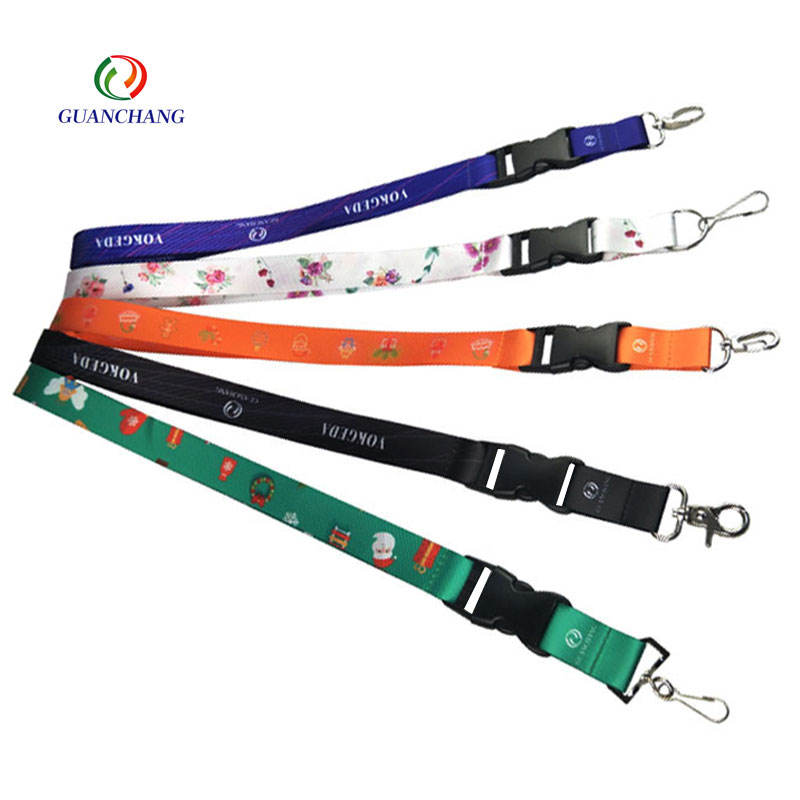 Promotional Custom Sublimation Printed Polyester Id Card Holder Neck Lanyard with Quick Release Buckle