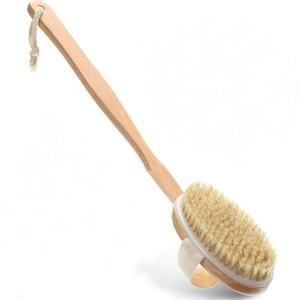 Massage Wood Natural Bristle Dry Skin Bath Body Brush With Detachable Handle