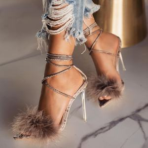 Fashion Design Fur Lady High Heel Sandal Shoes For Women