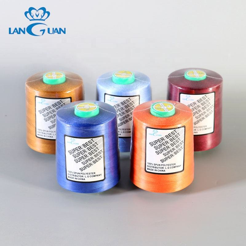 languan coloful 40/2 100% spun polyester thread brands