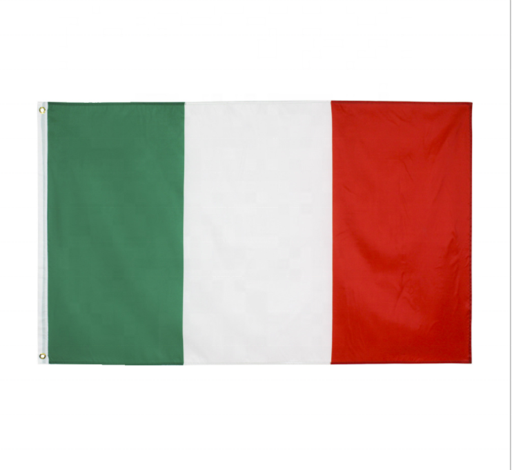 Fast Shipping Wholesale 3*5FT Polyester Silk Print Hanging Green White Red Italy national Flag