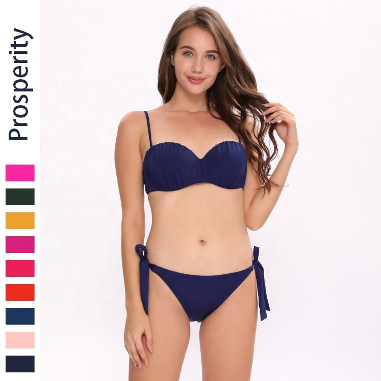 fashionable hot sexy underwire shirring cup bandeau swimsuit two piece woman low waist strappy side swimwear bikini