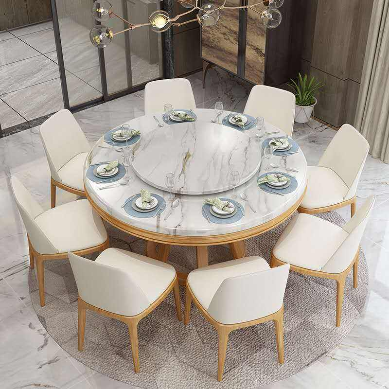 Eight Seater And Chair 8 Sitter Matte Dinning Set Modern Room Round Marble Grey Dining Table, Dining Table Suite With 8 Chair