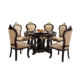 Luxury European Style Round Wood Carved Dining Table Marble Rotating Table Set 6 Seaters
