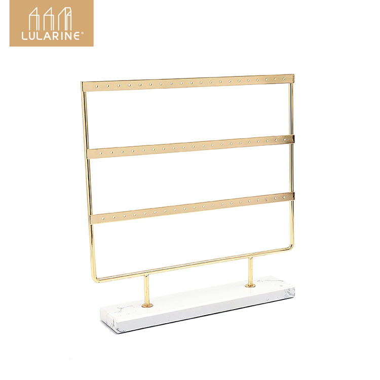 Display Stand Holder metal earring rack Earring storage holder With Marble base Luxury Cases Fashion for home and shop