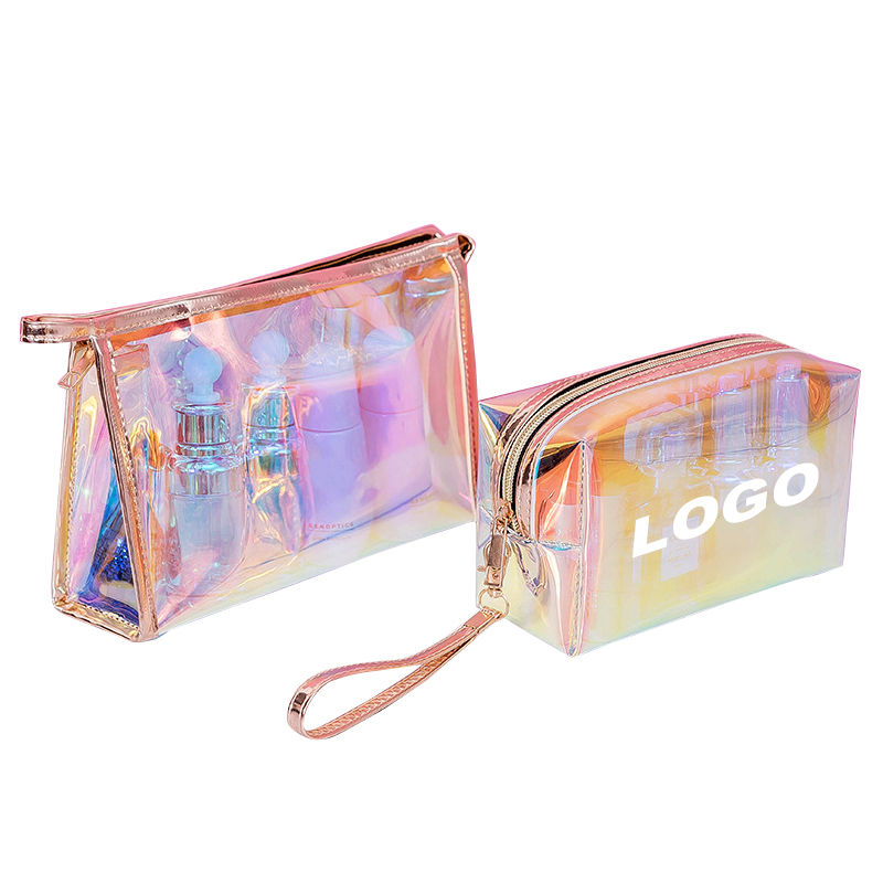 Low MOQ 100pcs Custom Logo New Fashion Transparent Laser Cosmetic Pouch Luxury Print Clear Holographic Makeup Bag