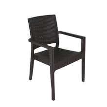 Outdoor furniture hot sell garden pp plastic armchair rattan dining chair stackable for hotel and special use restaurant chairs