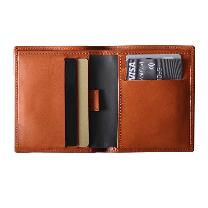Italian cowhide leather nice leather front pocket wallets slim card holder wallets with pull tab
