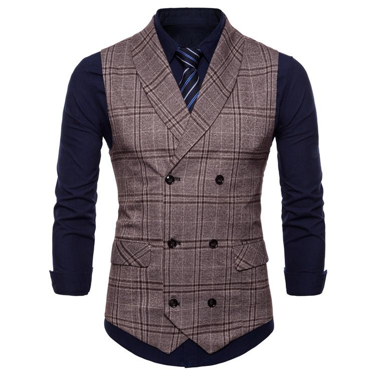Men's Plaid Tweed Suit Vest Double-Breasted Casual Waistcoat Shawl Lapel Business Suit Vest