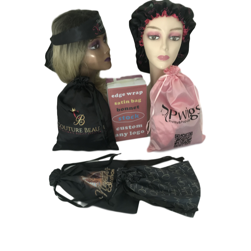 TOP Quality Silk Double Layer Soft Mommy And Me Bonnets Satin Hair Scarf Bag With Custom Logo