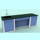 Wood Chemical Chemistry And Physics Laboratory Work Table With Shelves