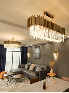 Modern metal tube crystal chandelier Stainless steel tube crystal chandelier Art crystal lamp