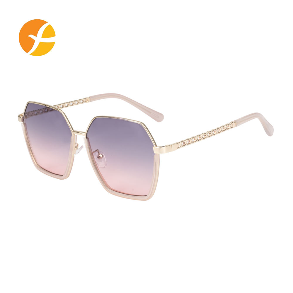 Charms Tropical Gradient Purple And Pink Uv400 Lens Sunglasses With Metal Frames