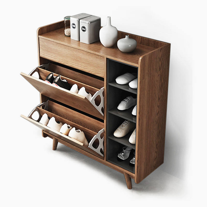 Modern wooden shoe rack storage cabinet with wood legs