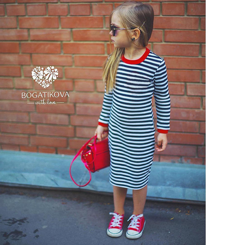 Maxi Dress Fashion summer dress for girls kids Classic Stripe Kids Clothes Girl A-line Long sleeve shirt Dress
