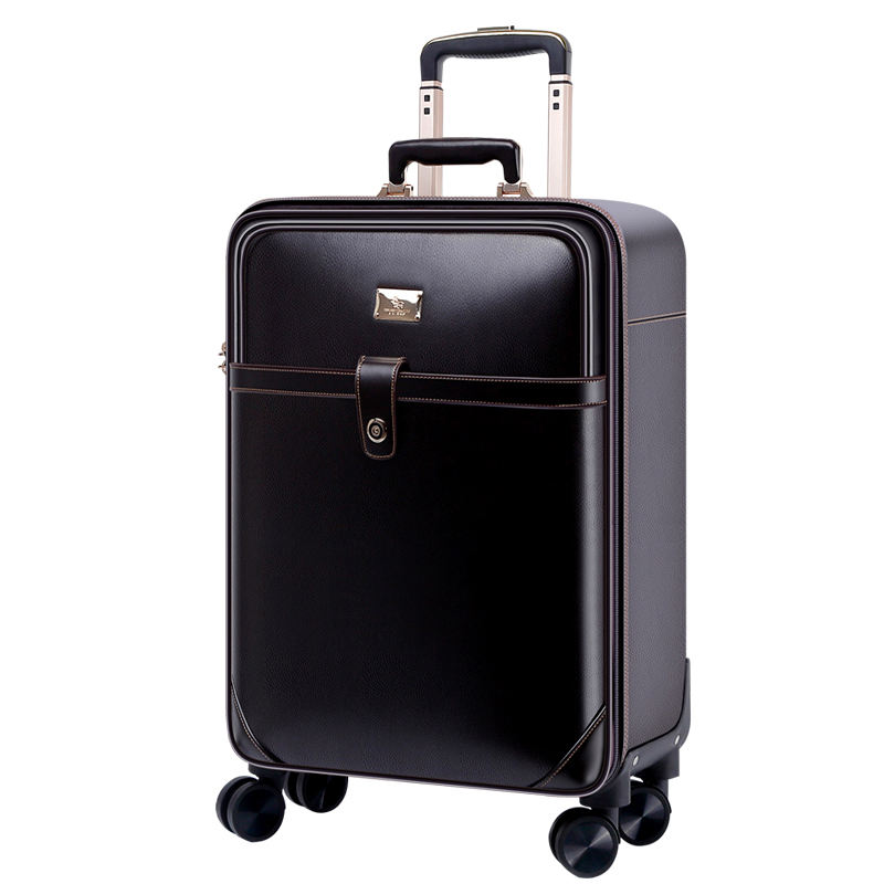 2019 new arrival Genuine leather Business Casual Traveling Luggage Suitcase 16/17/18/20/22/24Inch Trolley Bags