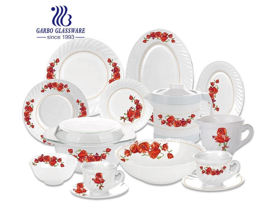 Wholesale Luxury Houseware Sets Wedding Dinner Tableware Dinnerware Set with Salad Plates Opal Glass Tablewares 58pcs 72pcs