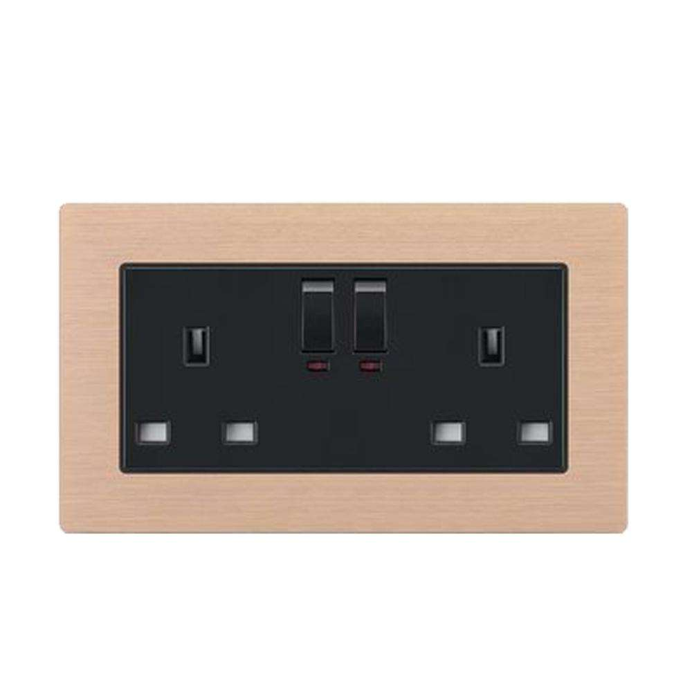 Double 13A UK Square Pole Outlet 3 Pin Socket Switch Electrical Power Socket
