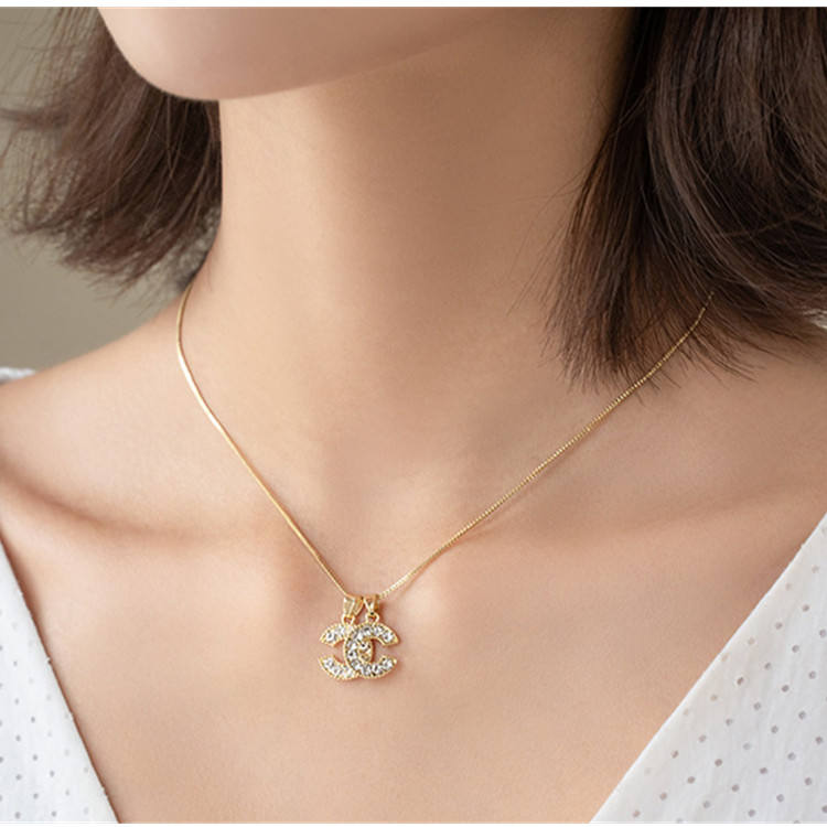 NEW Trending Double C letter C Jewelry Fashion Zircon Pendant Necklaces Diamond Necklace