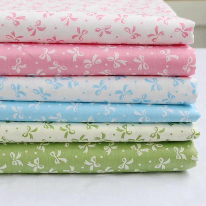 Cotton twill printed fabric, six color small bow kindergarten baby bedding pure cotton fabric