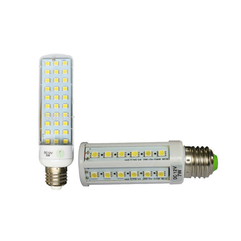 High brightness 12V 24V 36V E27 E26 E14 7W DC corn led light