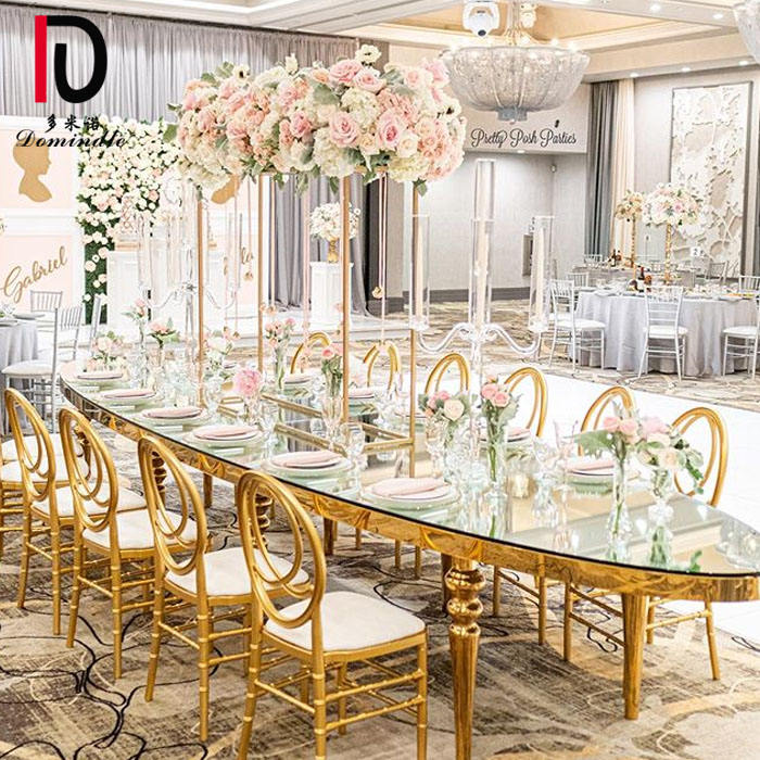 OT01 Dominate Oval mirror glass top gold stainless steel wedding table