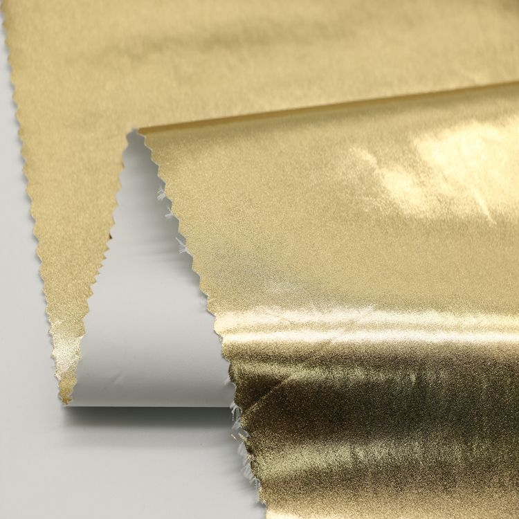 Wholesale new design woven crepe luxury style plain polyester dyed gold foil fabric