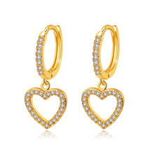 Romantic High Quality 18k Gold Plated Full Rhinestone Heart Clip on Huggie Hoop Earrings Small Zircon Heart Dangle Earrings