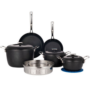 Non-stick SGS Certificate Aluminum Alloy Cookware Set Big Black Steel Frying Wok Pan