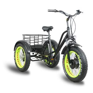 Kuake Cheap 500W fat tire electric tricycles three wheel electric bike for adults and cargo loading
