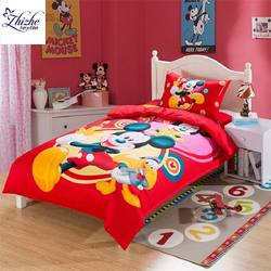 Cartoon styles 3D red mickey mouse minnie printed cotton bed