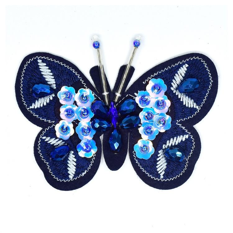Handmade Beaded Blue Butterfly Patches Applique