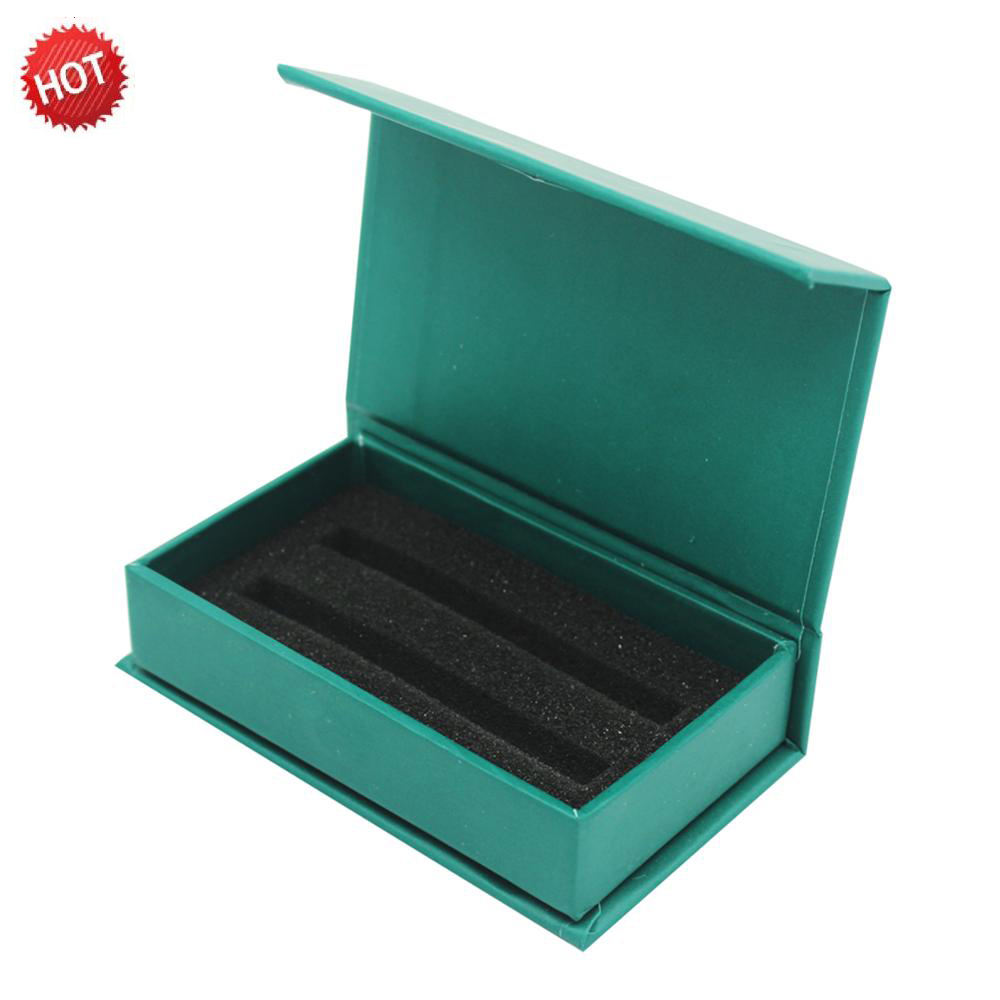 Custom Rectangle Small Card Packaging Paper Cardboard Green Gift Boxes With Sponge Insertion