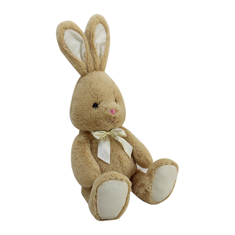 Factory direct sale cute animal plush toy warm gift rabbit plush fabric toys with Bow tie for kids