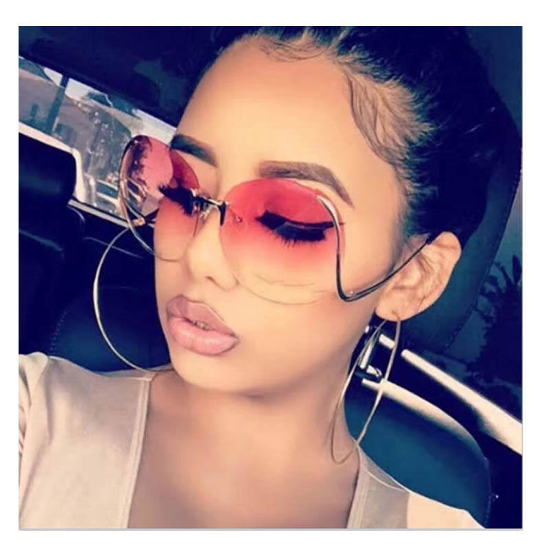 2019 Brand Designer Newest Fashion Rimless Bend Leg Trendy Colorful Lens Women Sun Glasses Oversize Shades Sunglasses 2020