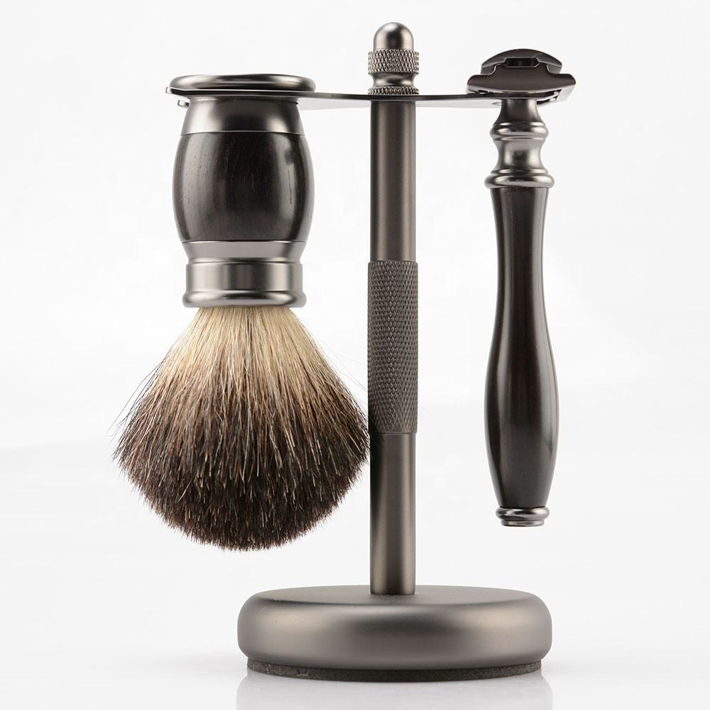 Plastic Ebony Wooden Double Edge Blades Safety Razor With Black Badger Hair Brush Shaving Kit