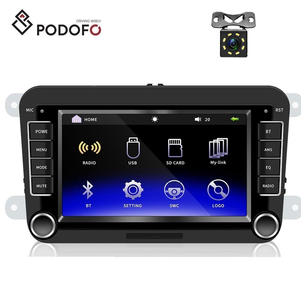 "Podofo Für <span class=keywords><strong>VW</strong></span> Golf Skoda Sitz Auto Video Player 2 Din 7 ""HD Mirrorlink Autoradio Bluetooth USB Video + 8IR Hinten Kamera"
