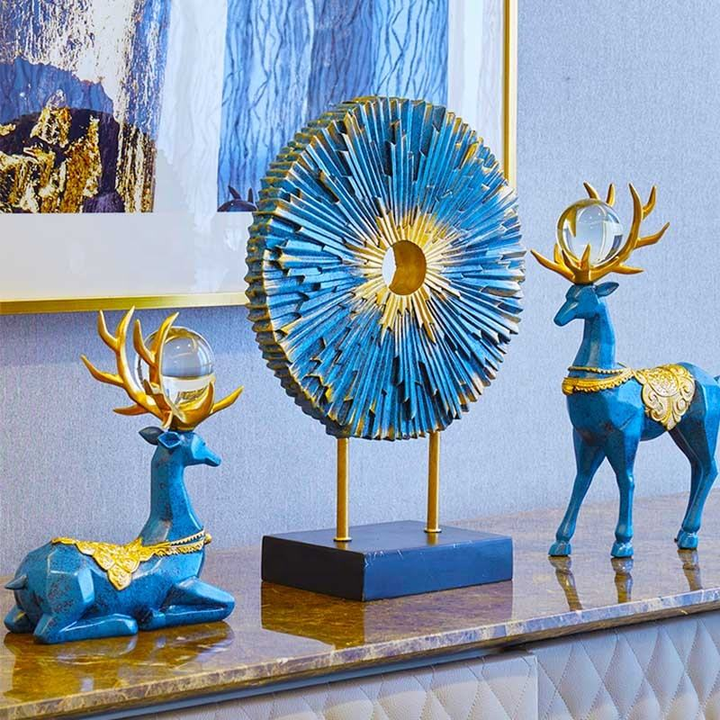 3pcs/set European and American style creative home accessories luxury resin deer combination indoor home decoration crafts