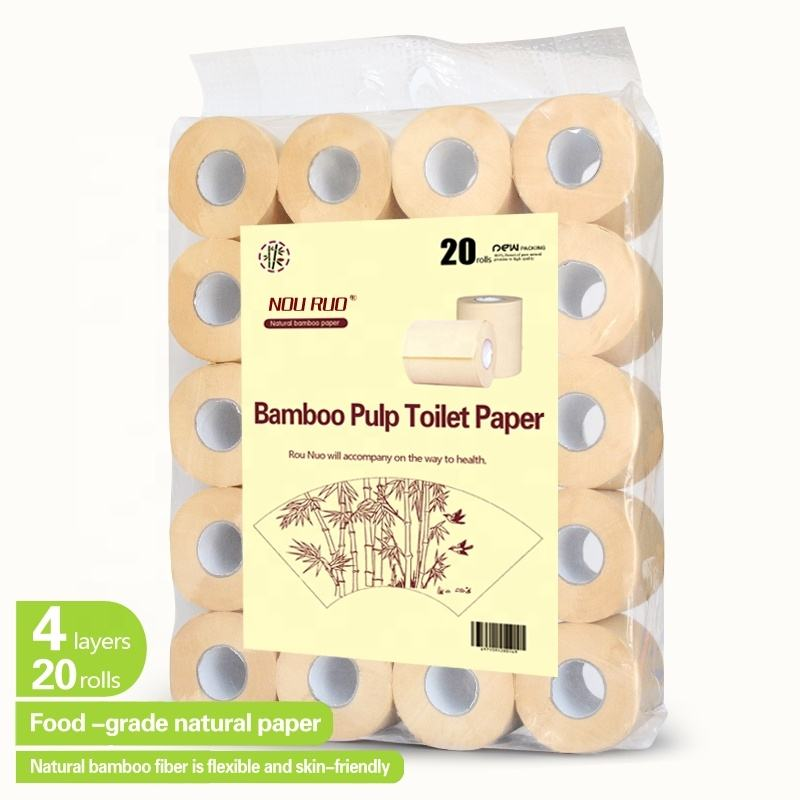 4 ply wholesale price Mama nonbleaching bathroom bamboo toilet roll tissue paper