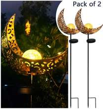 2020 Solar powered Pathway decorative Magic Brass Hollow-Carved Metal Moon Globe Stake Solar Crackle Glass ball Garden Light