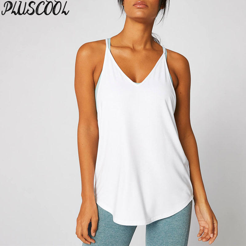 Women tank tops racer-back running vest dropped hem design
