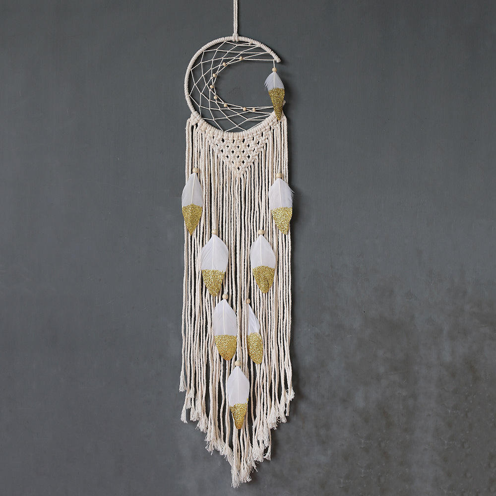 New Design Wholesale Handmade Diy Decorative White Wall Hanging Moon Dreamcatcher Home Decor